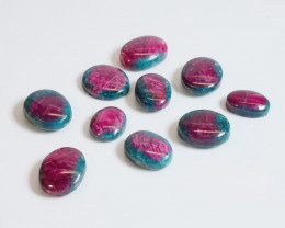 152 Carats Total Lot of Ten (10) Ethiopian Ruby in Fuchsite Gemstone Caboch