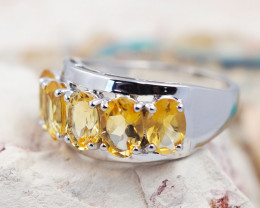 Natural Bright Gem Citrine in Silver Ring F14B