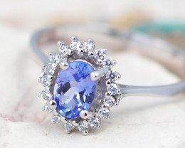 Natural Tanzanite in Silver Princess Ring F19B