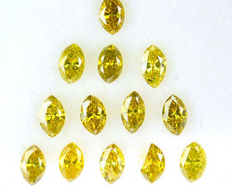 1.22 Cts Natural Sparkling Yellow Diamond 13 Pcs Marquise Africa