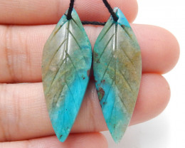 New!! Hand Carved Blue Opal Leaf Earrings,Natural Stone, 33x12x4mm H8693