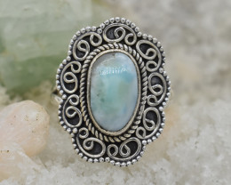 LARIMAR RING 925 STERLING SILVER NATURAL GEMSTONE JR228