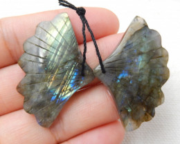 61cts Carved Leaf Earrings,Natural Labradorite Handcarved Leaf Earrings E10