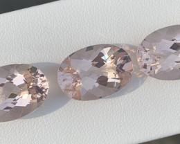 48.15 Carats 3 Pieces Morganite Gemstones Parcel