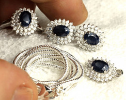 100.0 Tcw. Midnight Blue Sapphire, Earrings, Pendant, Ring, Chain