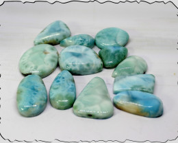 Wholesale lot, 12 Dominican Clear Sky Blue Larimar polished Cabochons 465ct
