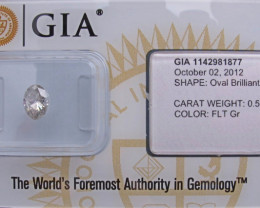 0.58 ct Natural Fancy light Grey  Oval Diamond GIA certified