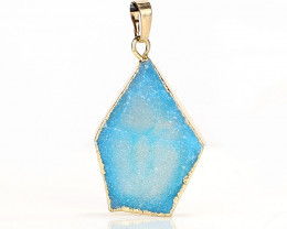 New! Gold Plated Crystal cluster Stone Blue Pendant Jewelry for Women J0278