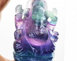 Genuine 1340.00 Cts Multicolor Fluorite Carved Ganesha