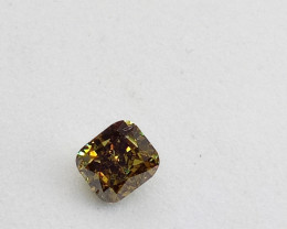 0.29ct  Fancy Deep Brown  Green  Diamond , 100% Natural Untrea