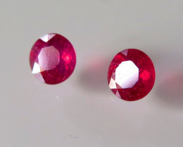 PAIR NATURAL RUBIES ROUND t RED 1.20ct...4.83mm