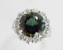 7.4ct Certified Dichroic Green/Amber Sunstone Ring with Diamonds (S29R)