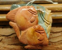 Gemstone carving picture jasper craft fish pendant (G1224)