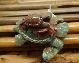 African bloodstone craved turtle bead animal craft (G1228)