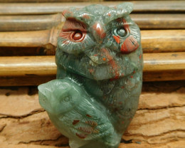 African bloodstone craft owl pendant jewelry (G1229)