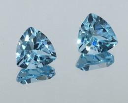 3.95 Carat VVS Topaz Swiss Blue Trillion Pair Amazing Quality!