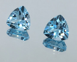 4.20 Carat VVS Topaz Swiss Blue Trillion Pair Amazing Quality!