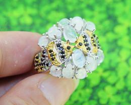 Moonstone & Black Spinel Natural 925 Sterling Silver Ring SIZE 8.5 (SSR0555