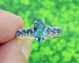 London Blue Topaz Natural 925 Sterling Silver Ring SIZE 8  (SSR0556)