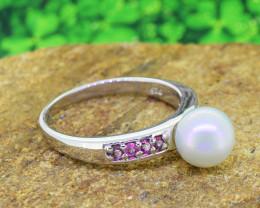 Pearl & Rhodolite Garnet Natural 925 Sterling Silver Ring SIZE 6 (SSR0561)