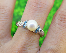 Pearl & Topaz Natural 925 Sterling Silver Ring SIZE 8 (SSR559)
