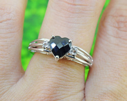 Natural Black Sapphire & Topaz 925 Sterling Silver Ring SIZE 6  (SSR562)