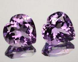 11.54Ct Natural Amethyst  Purple Matching Pair Heart