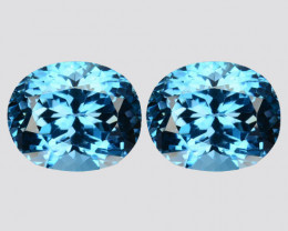 8.88Ct Matching Pair NAtural London Blue Topaz Oval