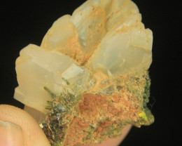 Natural Amazing Specimen of Bone Quartz Combine With Green Epidot