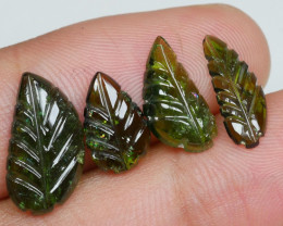 6.90 CRT PAIR CARVING LEAF TOURMALINE