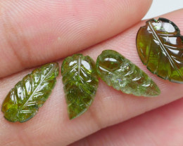 6.75CRT BEAUTY GREEN LEAF CARVING TOURMALINE-
