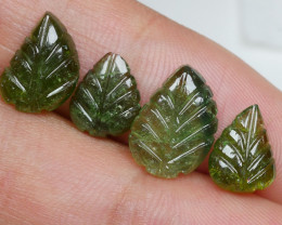 7.95CR PAIR GREEN CARVING LEAF TOURMALINE-