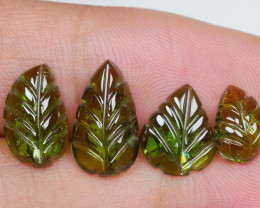 6.95CRT PAIR GREEN LEAF TOURMALINE  CARVING-