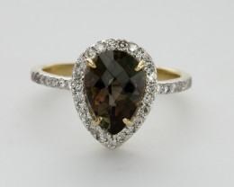 1.9ct Rootbeer Sunstone Gold Ring with Diamonds (S259R)