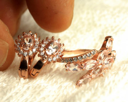 34.17 Tcw. Morganite Sterling Silver Gold Plated Earrings + Ring