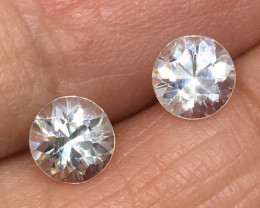 2.10 Carat VS Zircon Pair - Diamond White Color Precision Cut!