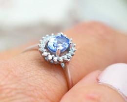 Natural Tanzanite in Silver Princess Ring F19I