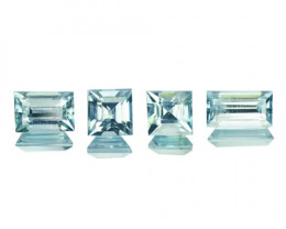 3.02 Cts Natural Blue Zircon Baguette & Square Cut 4 pcs Cambodia