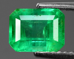 1.29 Cts NATURAL EARTH MINED GREEN COLOR COLOMBIAN EMERALD LOOSE GEMSTONE