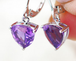 14 KW White Gold AMETHYST Earrings - F26B