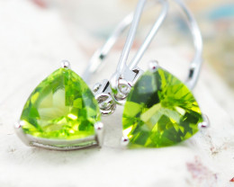 14 KW White Gold PERIDOT Earrings - F30B