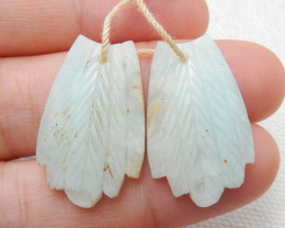 27.5ct Natural amazonite carved leave shape earring beads E125
