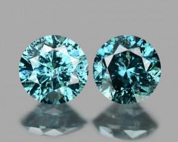 0.31 Cts SPARKLING FANCY BLUE COLOR NATURAL DIAMOND PAIR