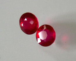 PAIR NATURAL RUBIES ROUND BLOOD  RED 1.28ct...4.74mm