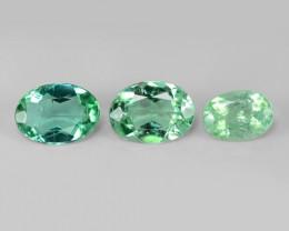 3 Pcs Untreated Copper Bearing Blue Green Natural Paraiba Tourmaline