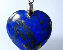 63.60 ct Unheated ~ Natural Blue Lapis Lazuli  Heart Shape Pendant