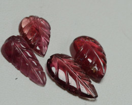5.65CRT PAIR CARVING LEAF TOURMALINE PARCELS-
