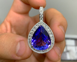 World Class ~ GIA 21.16 ct Tanzanite Diamond Pendant $23,000
