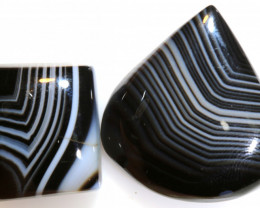 55 CTS BLACK AND WHITE BANDED AGATE PARCEL NP-885