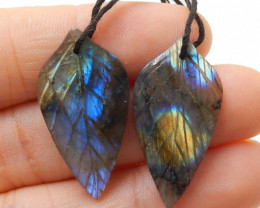 28ct Beautiful labradorite carved leave earrings bead semi-precious stones